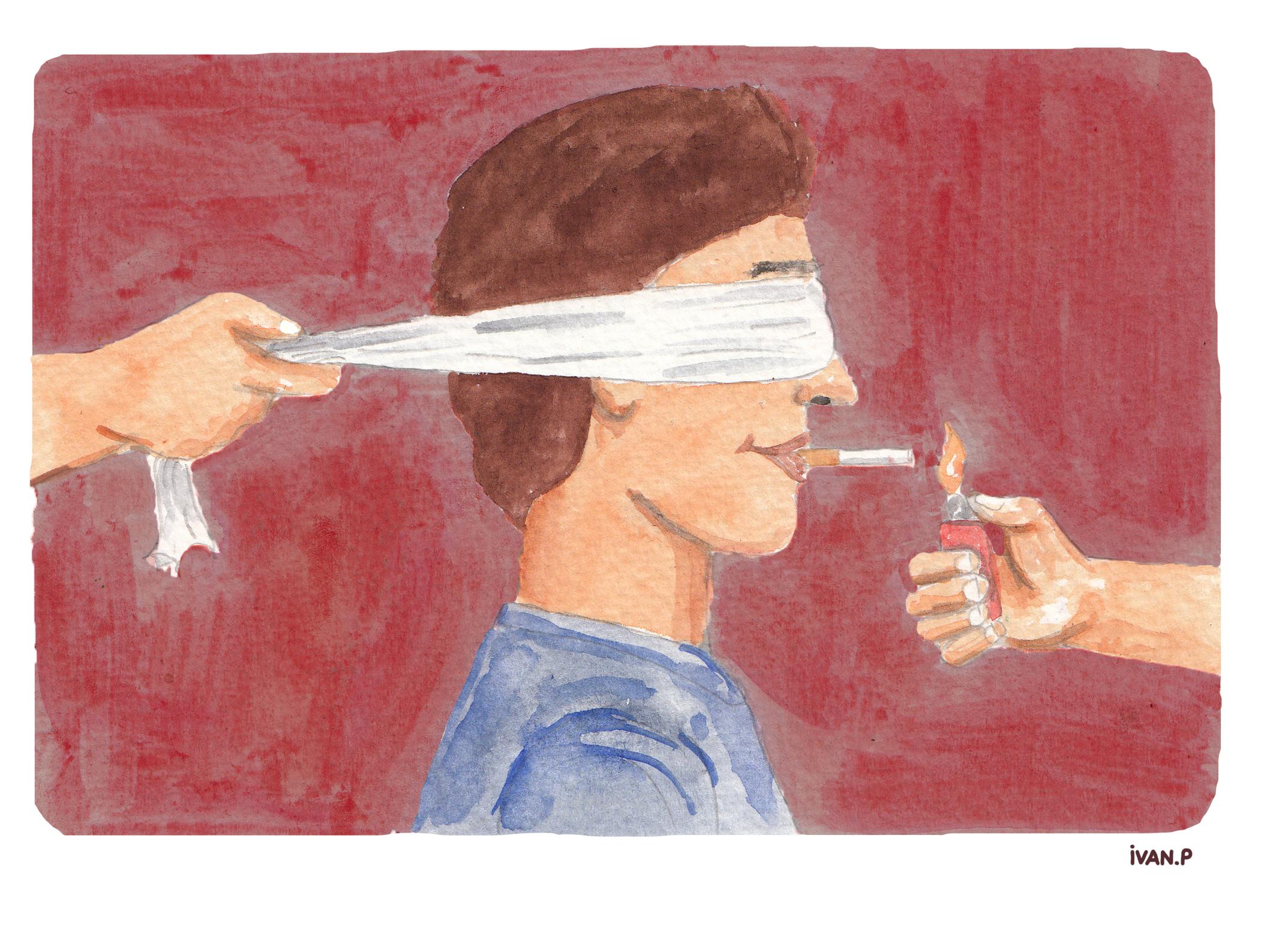 Illustration d'Ivan P sur l'industrie du tabac et le lobbying des grandes entreprises productrices de cigarettes.