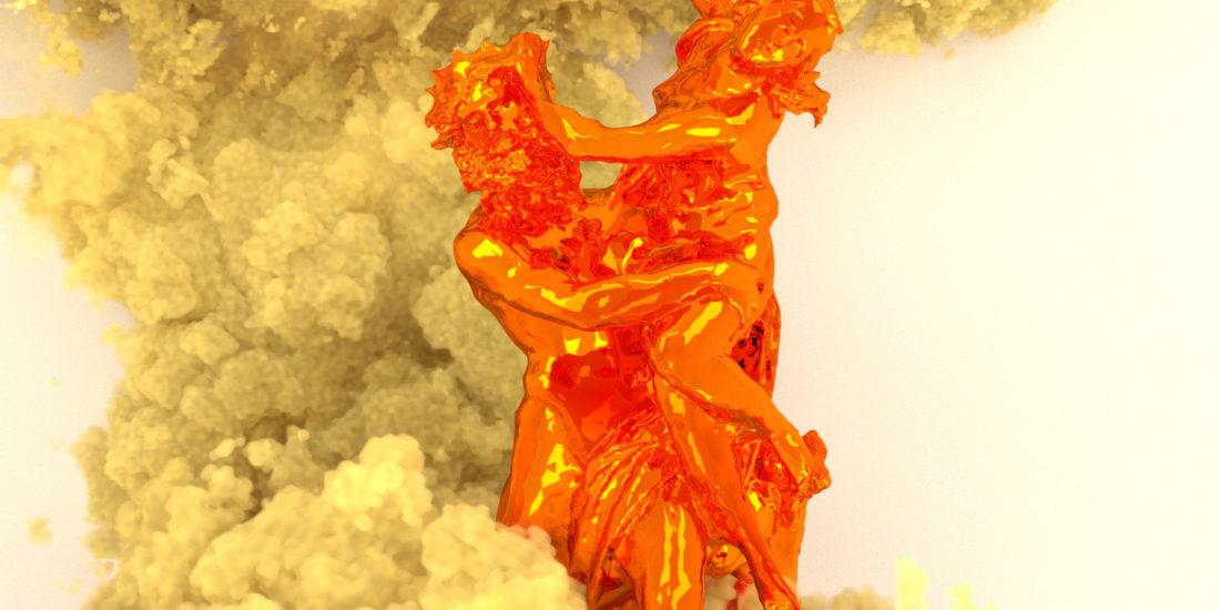 Scans 3D de statues espagnoles et catalanes par Paul Colombat. La fumée jaune-sable symbolise le soulèvement et la protestation