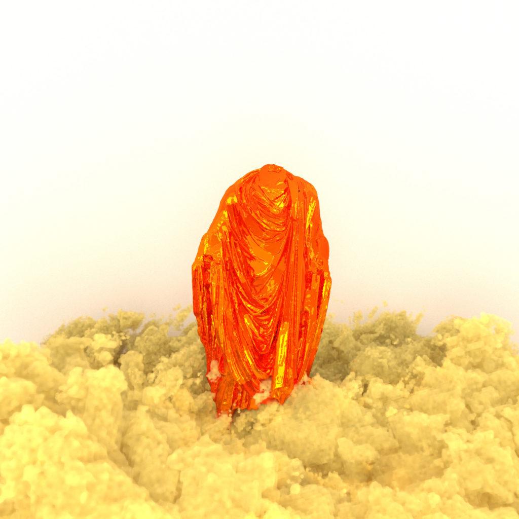 Scans 3D de statues espagnoles et catalanes par Paul Colombat. Elles représentent la Culture et l'Histoire du pays. La fumée jaune La fumée jaune-sable symbolise le soulèvement et la protestation.