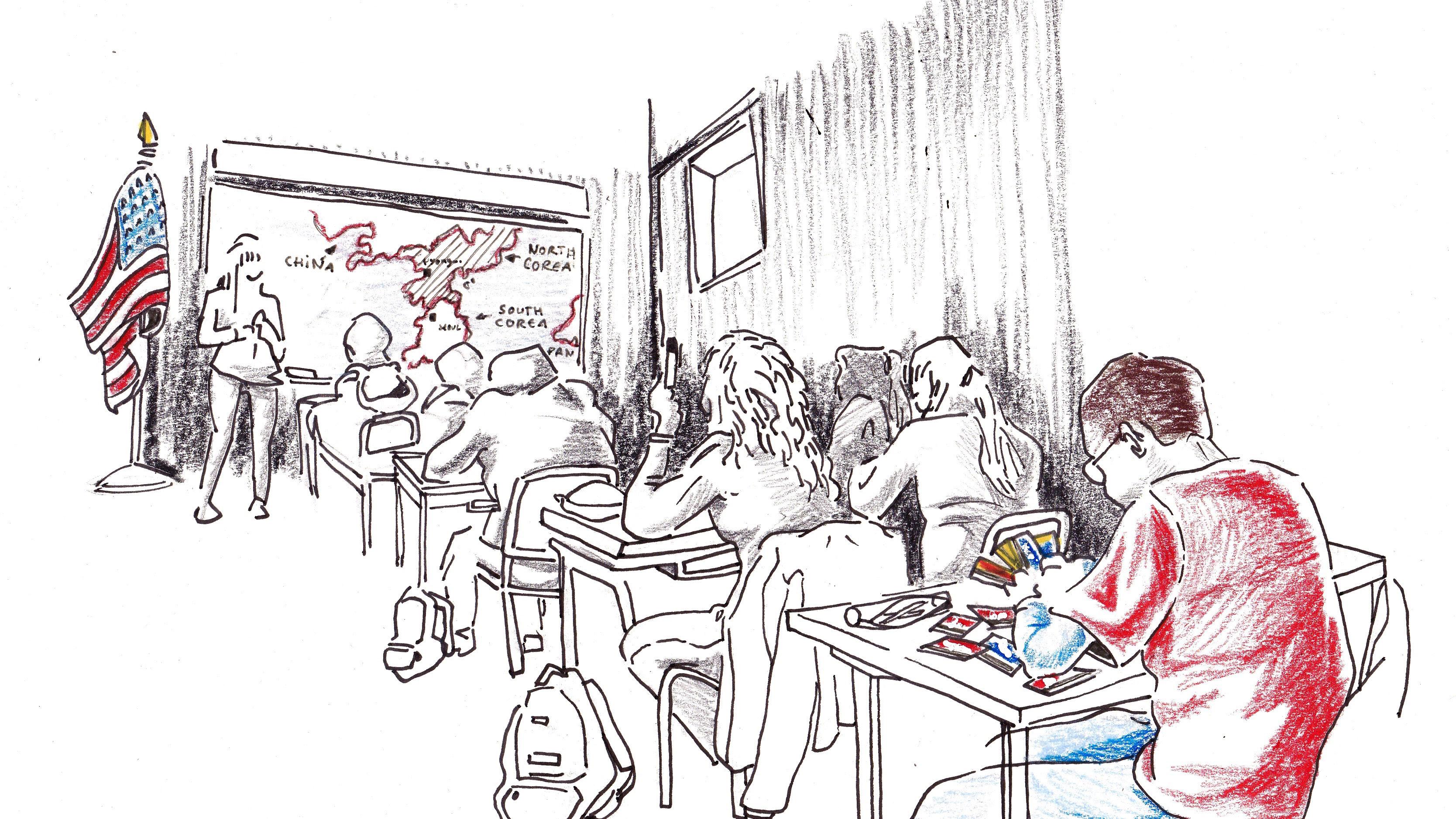 Illustration d'une classe Américaine, sur le conflit qui oppose les États-Unis à la Corée du Nord