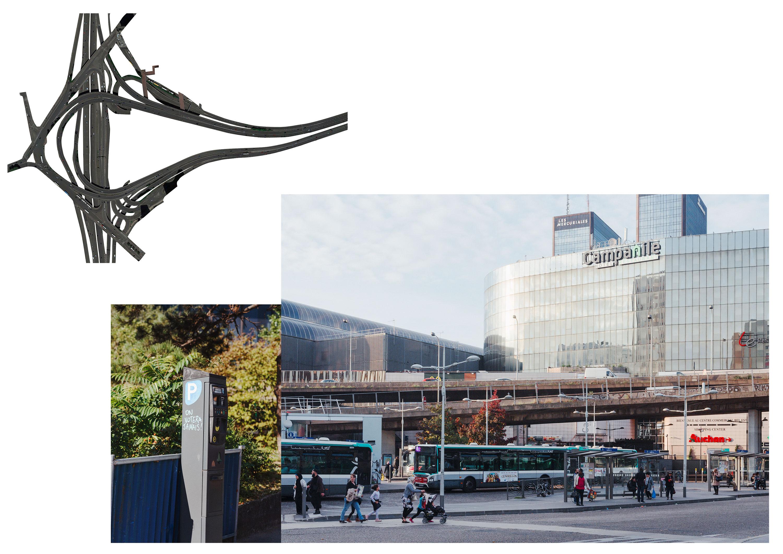 Photos de Thomas Cecchelani sur le thème de la marge, de son rapport à la ville et au centre. Les transports de la Porte de Bagnolet