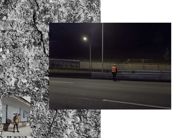Photos de Thomas Cecchelani sur le thème de la marge, de son rapport à la ville et au centre. Un ouvrier sur l'échangeur