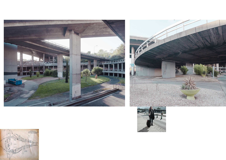 Photos de Thomas Cecchelani sur le thème de la marge, de son rapport à la ville et au centre. Sous l'échangeur.