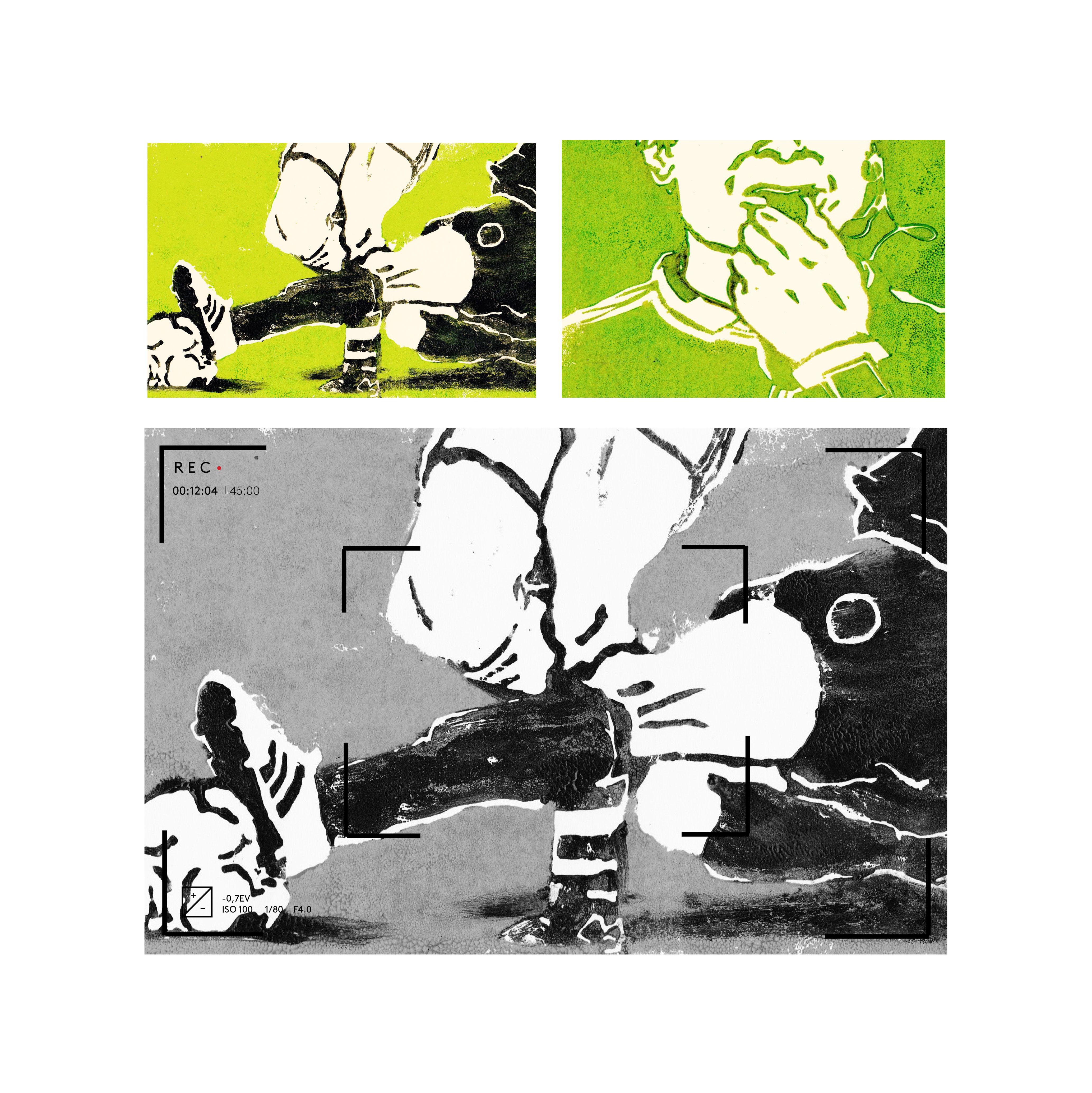 Gravures de Manor Askenazi sur le thème de l'arbitrage vidéo dans le football.