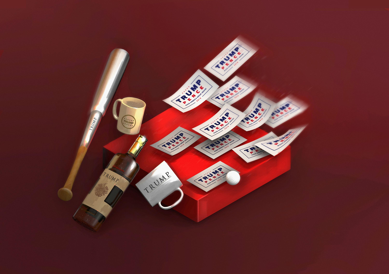 Illustrations de Paul Colombat sur Trump, une marque à la maison blanche. Avec les intervention de Benoît Heilbrunn et d'Havas Paris.