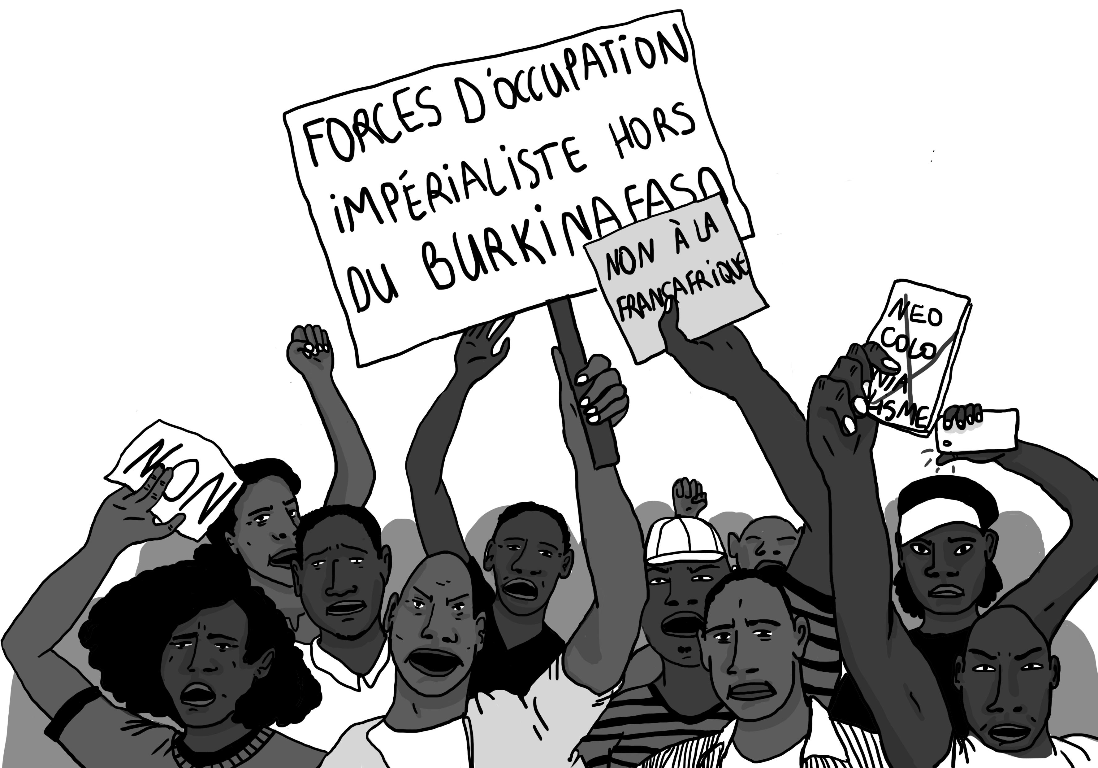 Les manifestants devant l'université de Ouagadougou