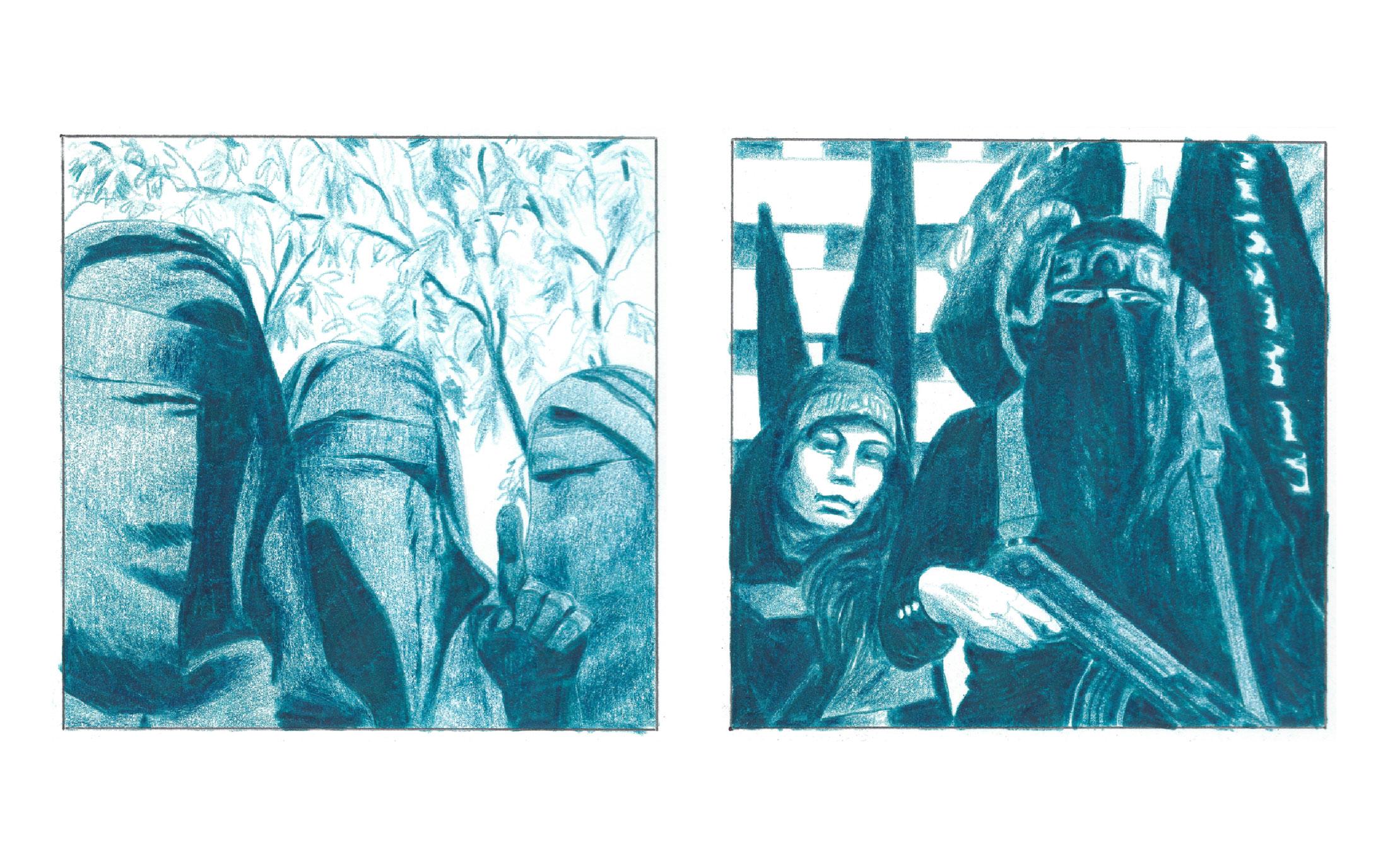 Les femmes du Djihad. Quand les femmes rejoignent Daesh. Illustrations de Lucien Gurbert.