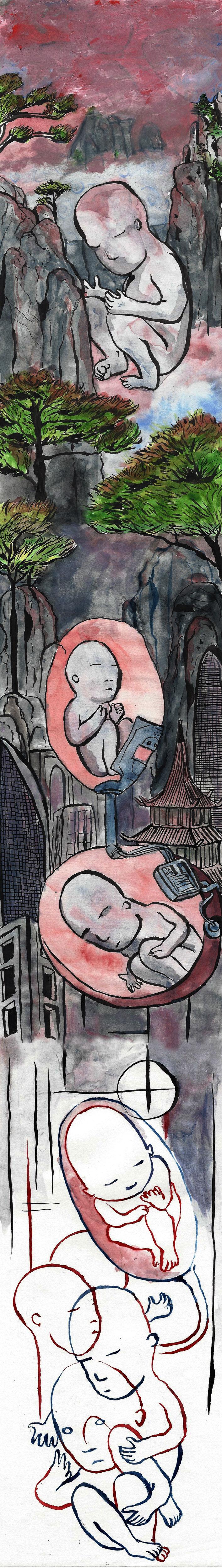 Tinantian, l'enfant chinois né 4 ans après la mort de ses parents : Le meilleur des Mondes aux portes de la Chine ? Illustrations de Su Zo.