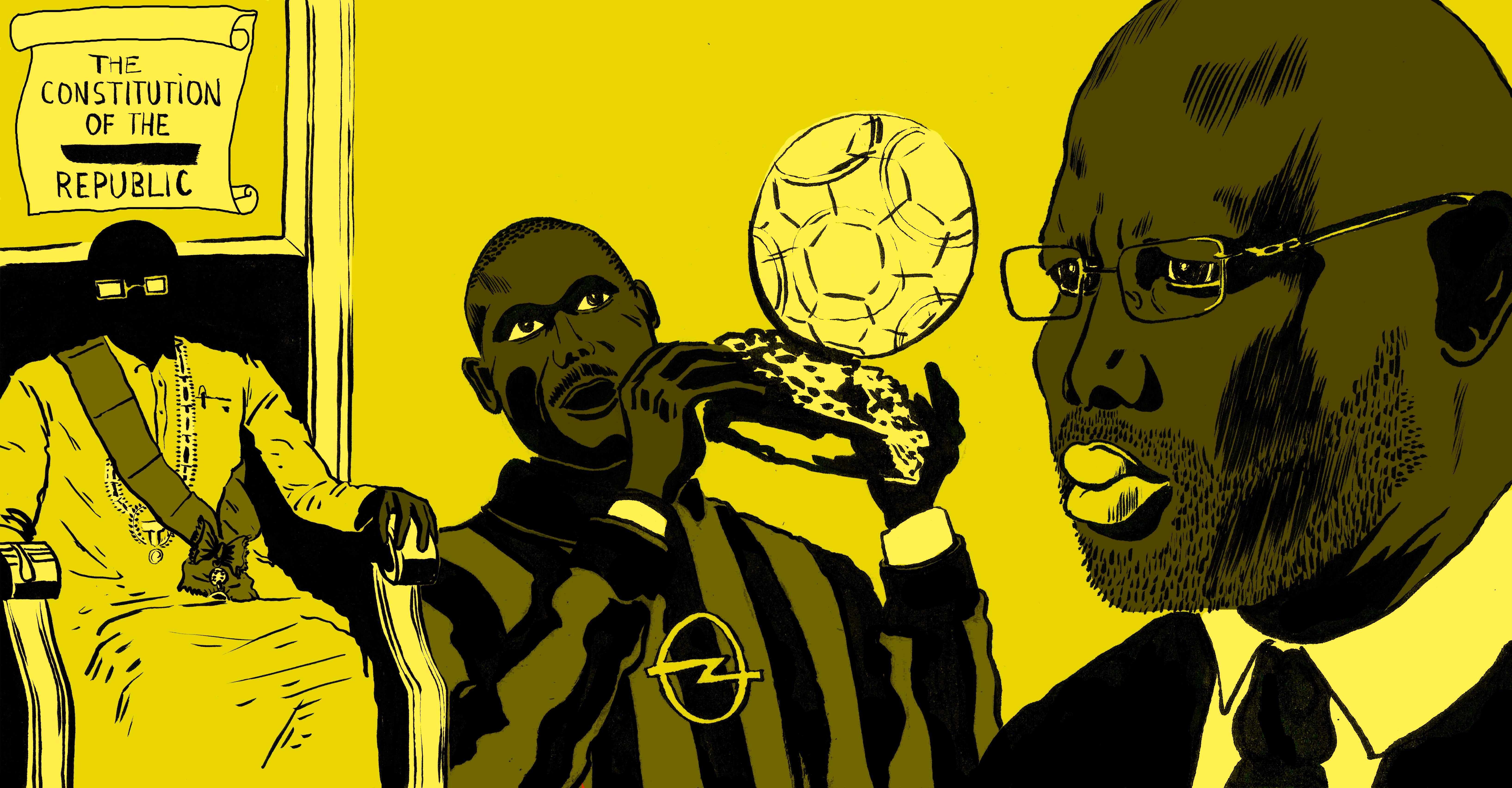 George Weah, de Ballon d'or à président du Libéria. Illustrations d'Eric Vanderhaegen.