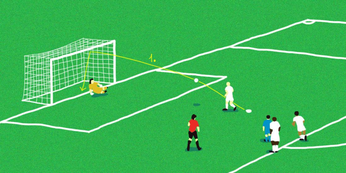 France - Pérou. Retour sur les buts mythiques de l'équipe de France en Coupe du Monde. Illustrations de Pierre Spetebroodt.